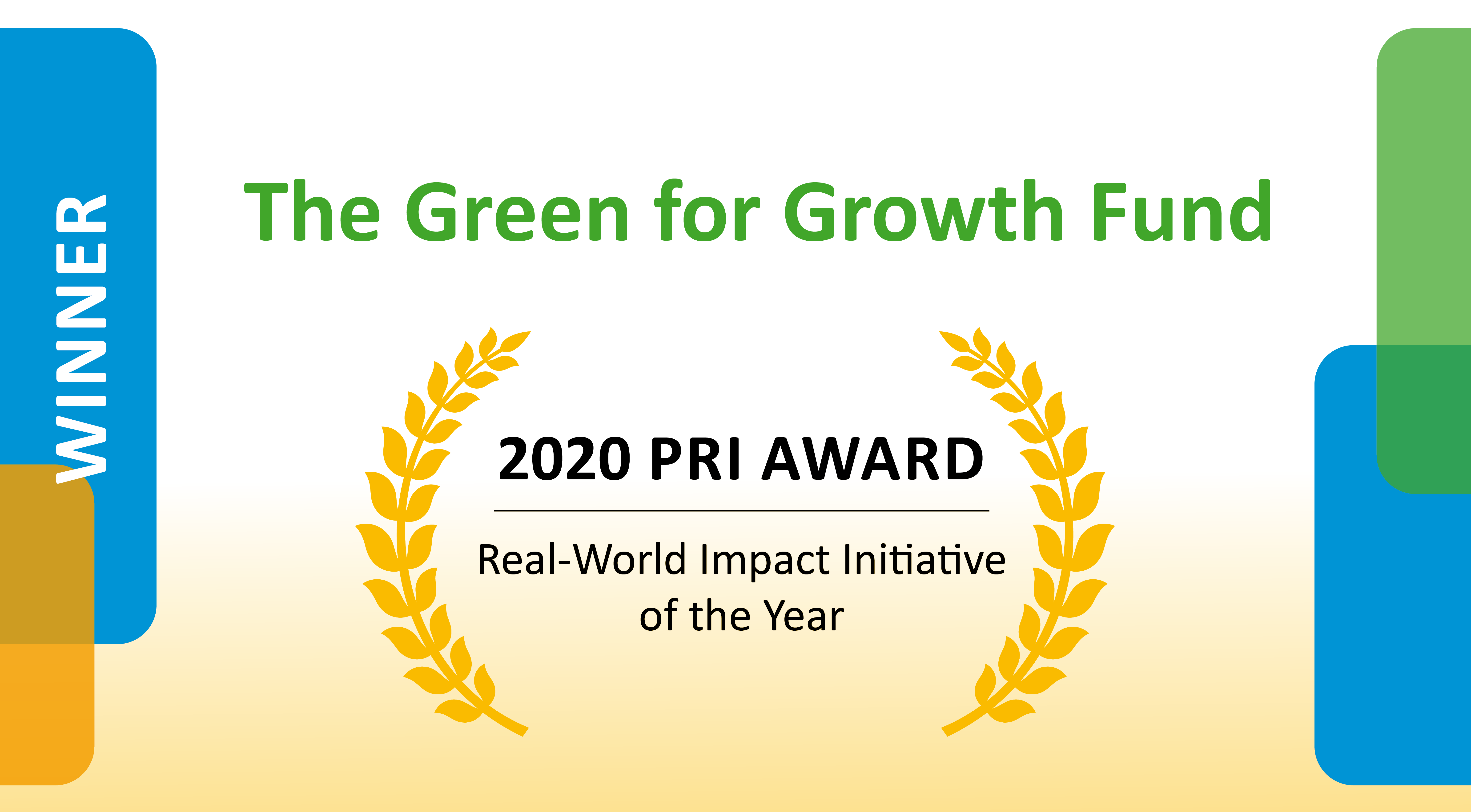 2020 PRI Award Certificate – Awarded to the Green For Growth Fund